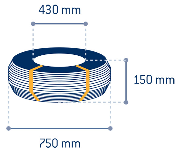 Product measurements Black annealed wire rolls